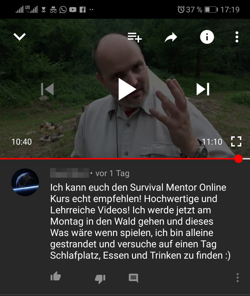 youtube kommentar  handy