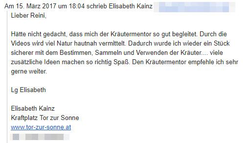 Emailkommentar von Elisabeth